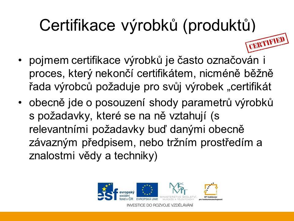 Certifikace výrobků (produktů)