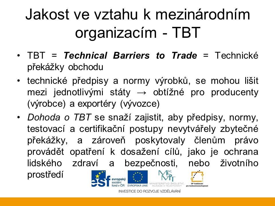 Jakost ve vztahu k mezinárodním organizacím - TBT