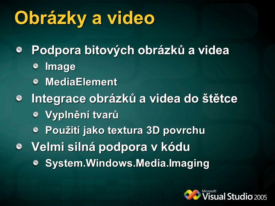 Obrázky a video Podpora bitových obrázků a videa
