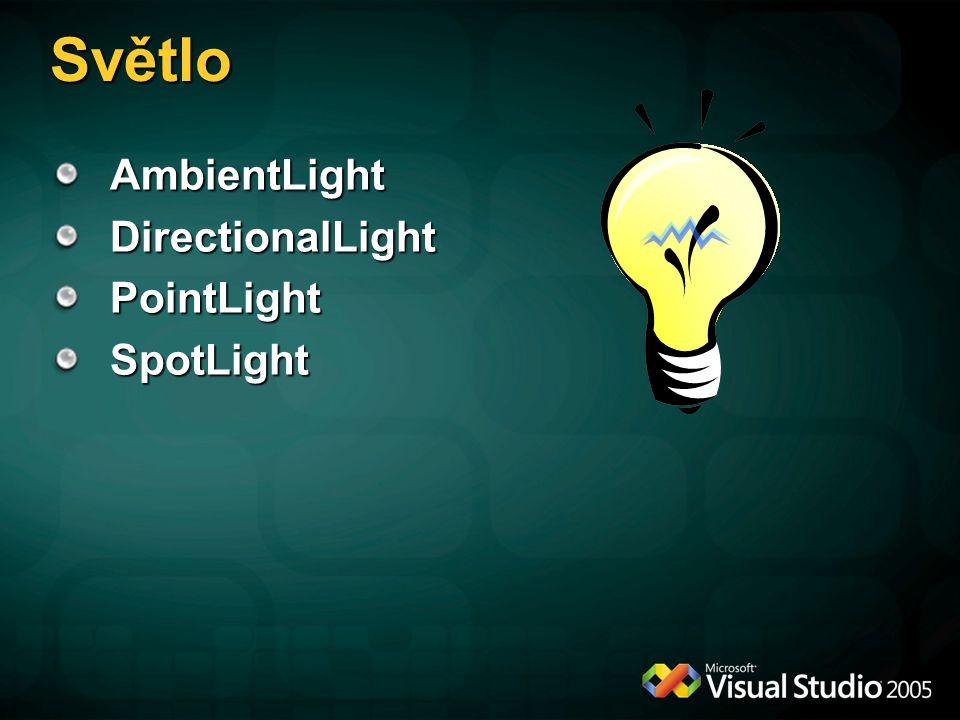 Světlo AmbientLight DirectionalLight PointLight SpotLight