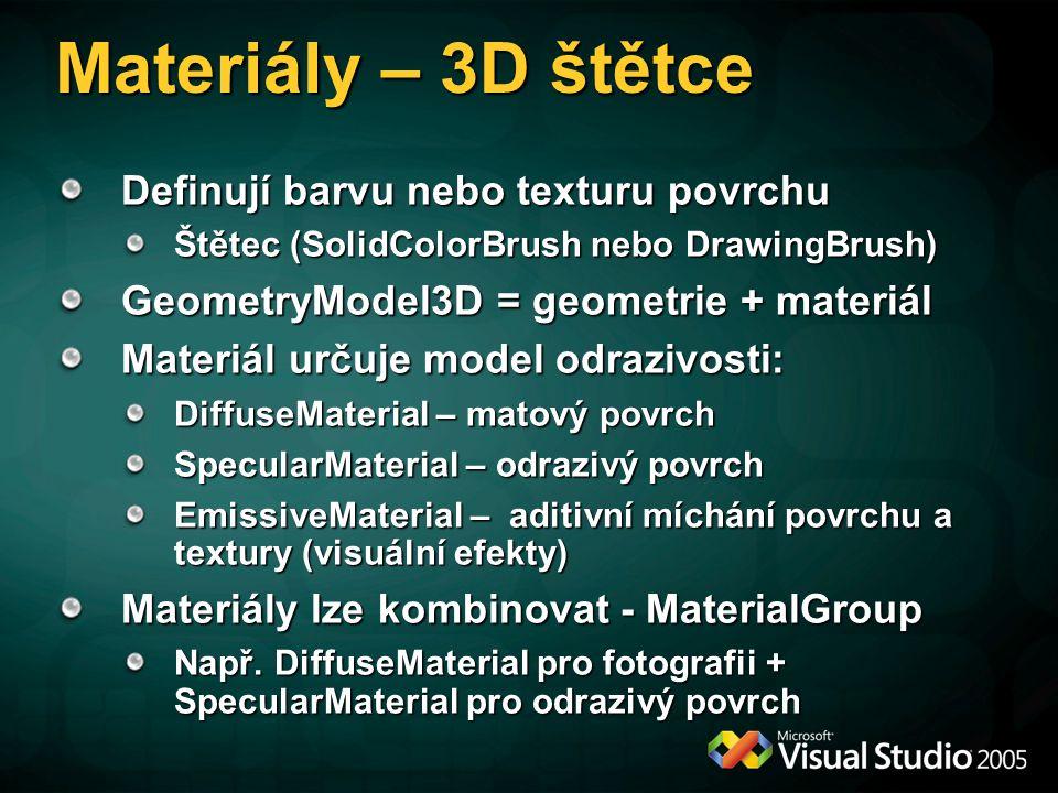 Materiály – 3D štětce Definují barvu nebo texturu povrchu