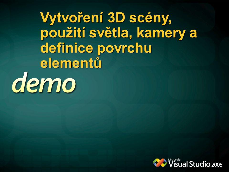 Vytvoření 3D scény, použití světla, kamery a definice povrchu elementů