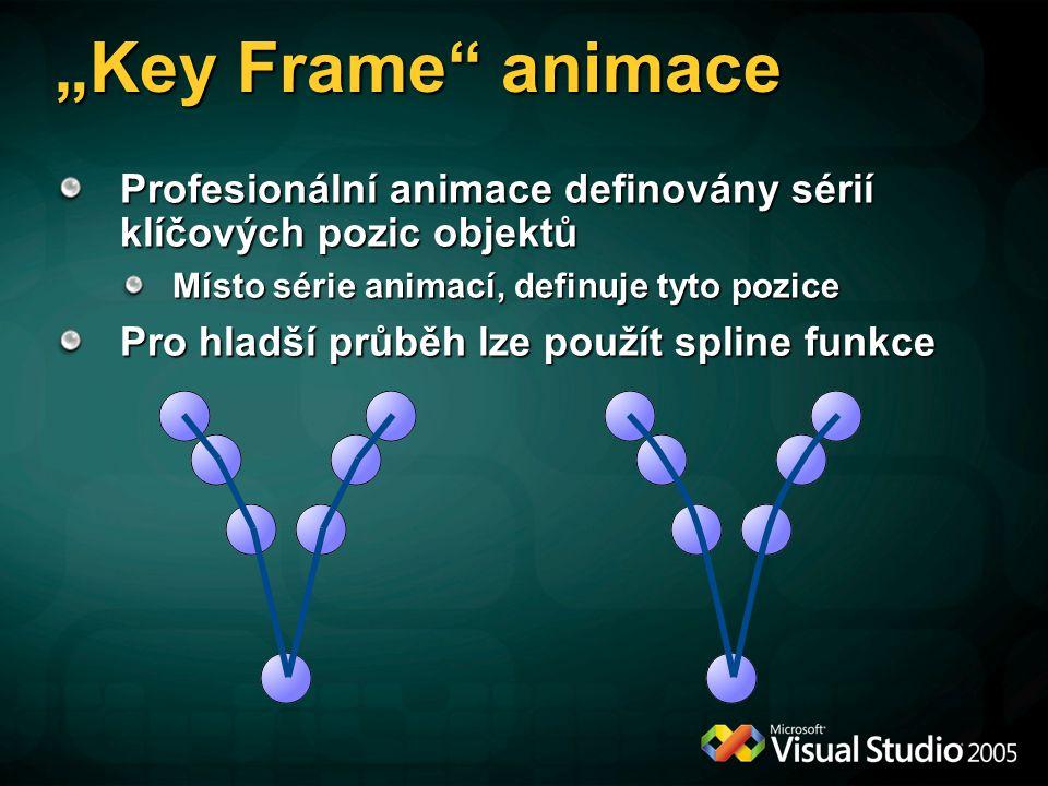 """""""Key Frame animace Profesionální animace definovány sérií klíčových pozic objektů. Místo série animací, definuje tyto pozice."""