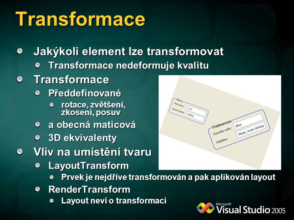 Transformace Jakýkoli element lze transformovat Transformace