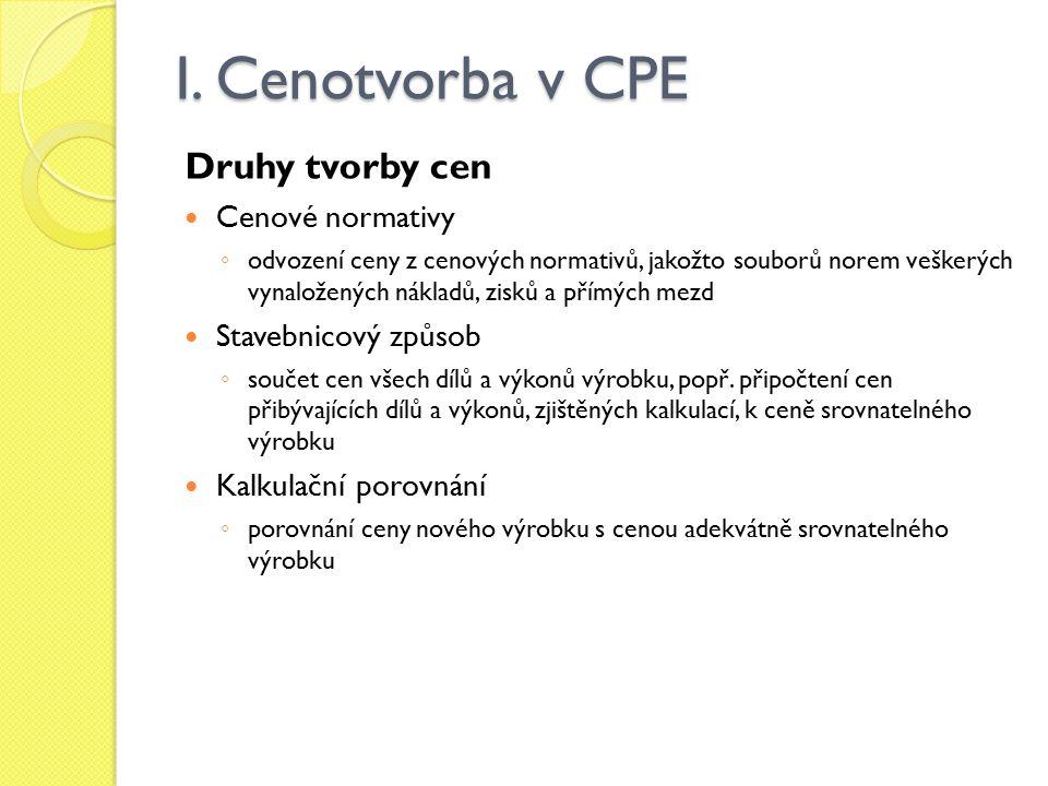 I. Cenotvorba v CPE Druhy tvorby cen Cenové normativy