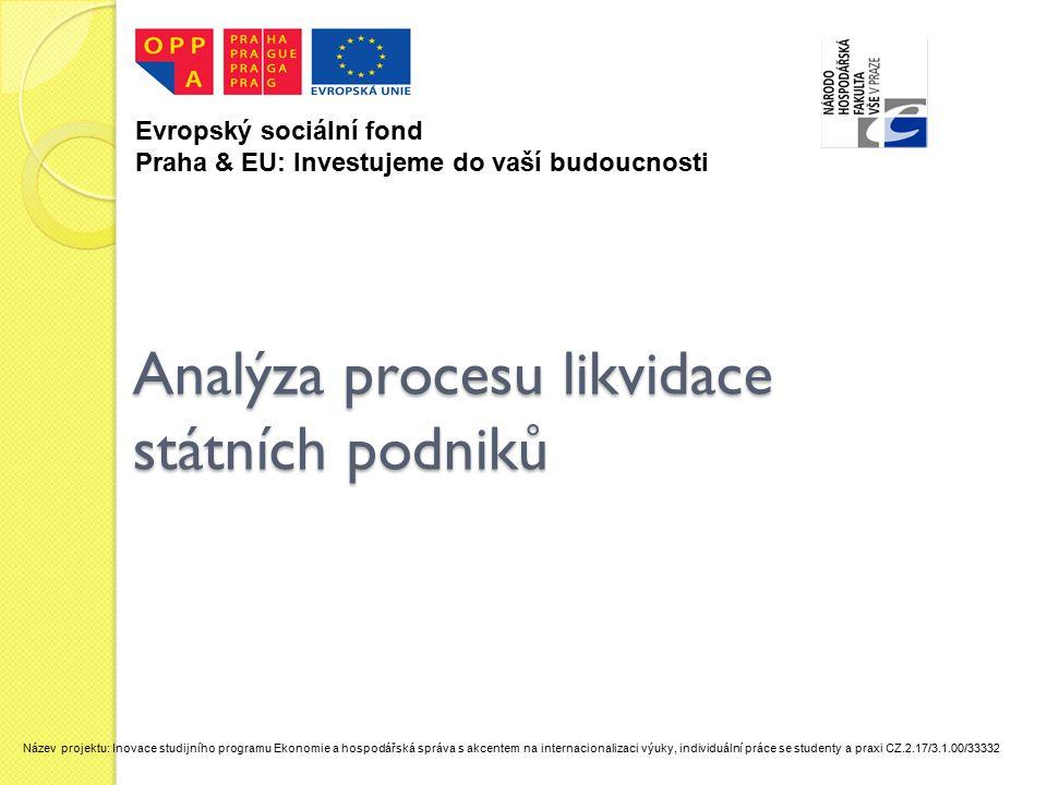 Analýza procesu likvidace státních podniků