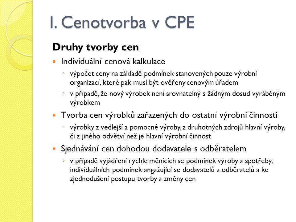 I. Cenotvorba v CPE Druhy tvorby cen Individuální cenová kalkulace