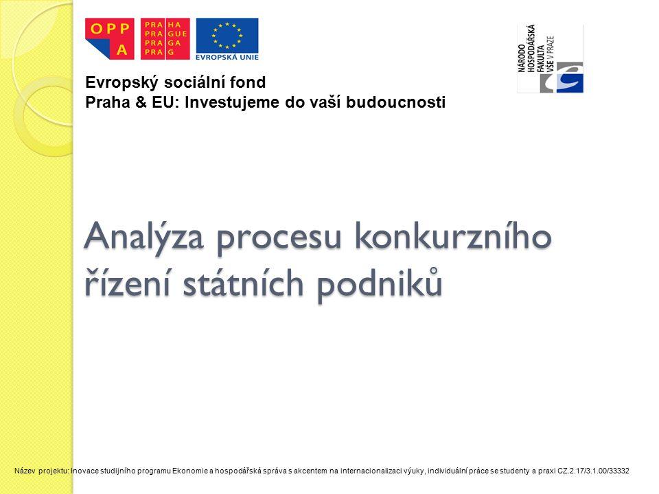 Analýza procesu konkurzního řízení státních podniků