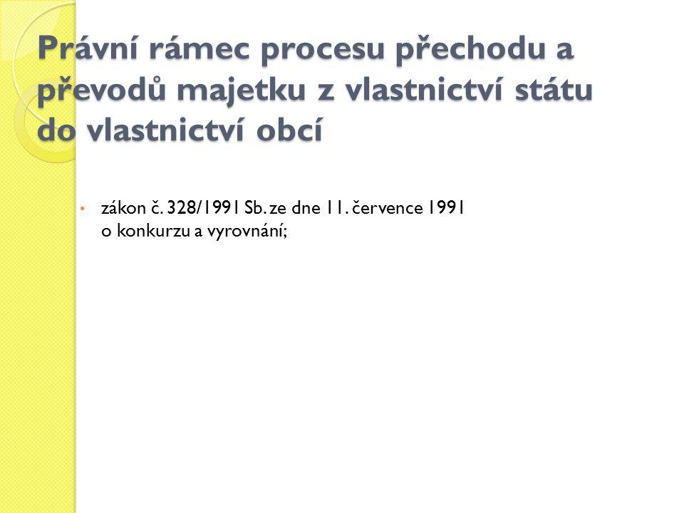 Právní rámec procesu přechodu a převodů majetku z vlastnictví státu do vlastnictví obcí
