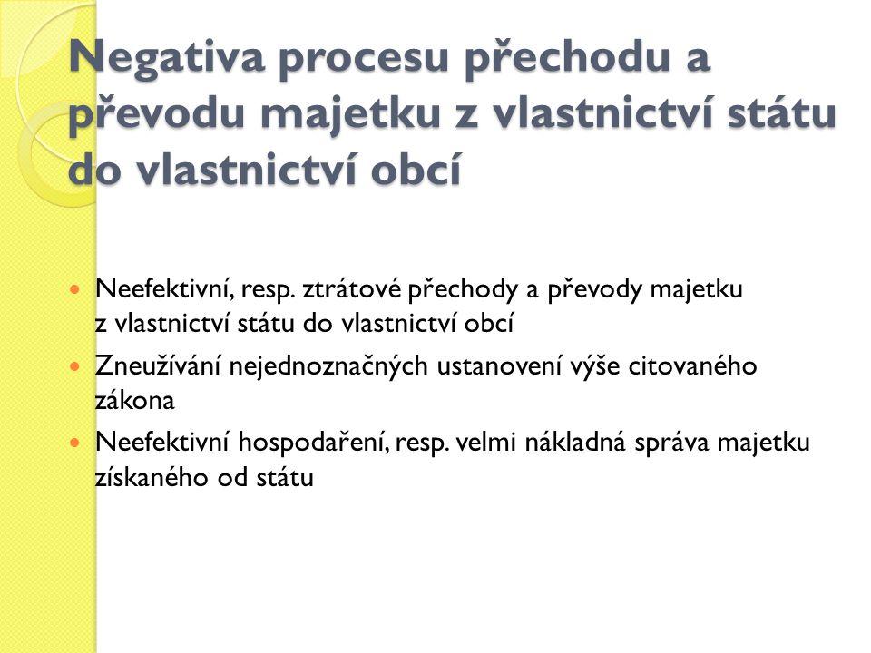 Negativa procesu přechodu a převodu majetku z vlastnictví státu do vlastnictví obcí