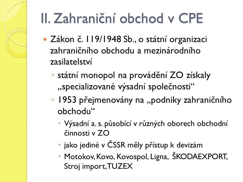 II. Zahraniční obchod v CPE