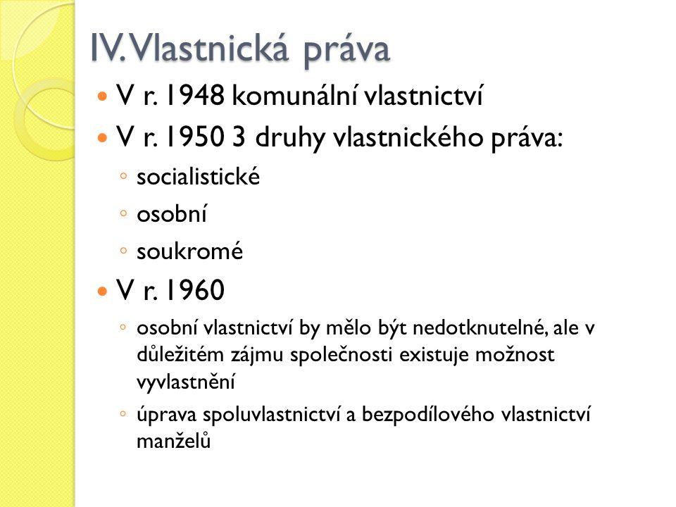 IV. Vlastnická práva V r. 1948 komunální vlastnictví