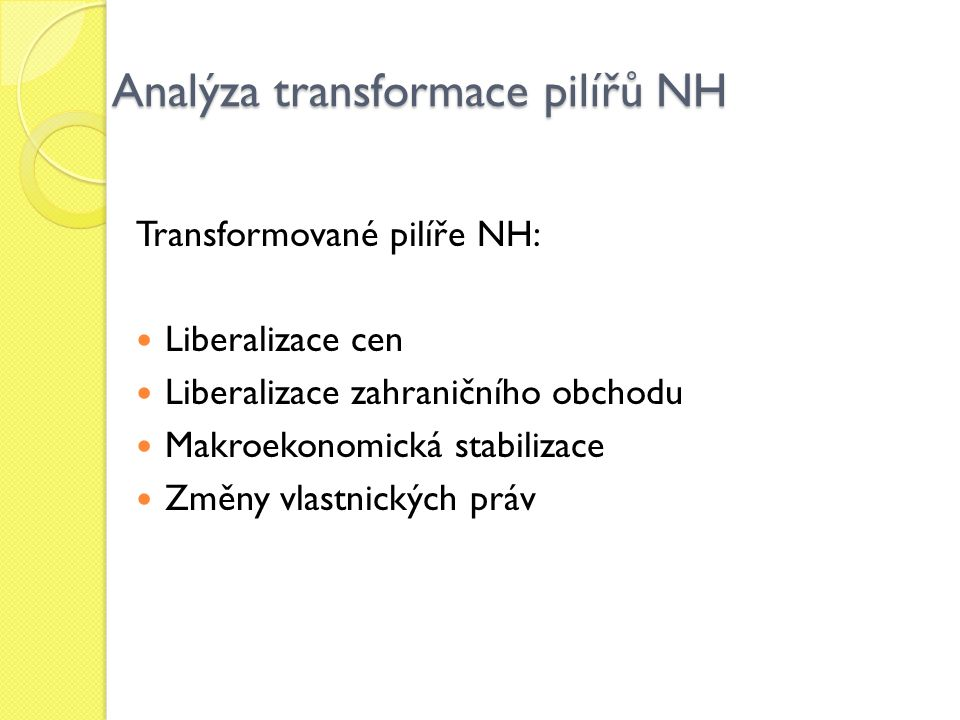 Analýza transformace pilířů NH