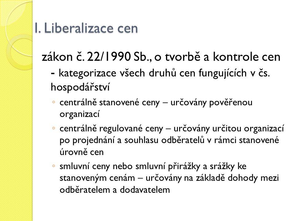 I. Liberalizace cen zákon č. 22/1990 Sb., o tvorbě a kontrole cen - kategorizace všech druhů cen fungujících v čs. hospodářství.