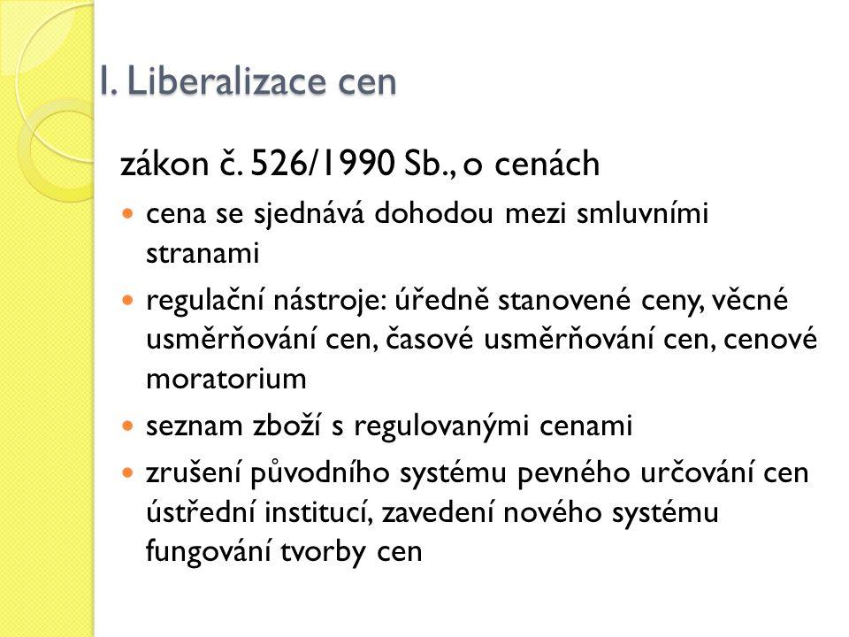 I. Liberalizace cen zákon č. 526/1990 Sb., o cenách