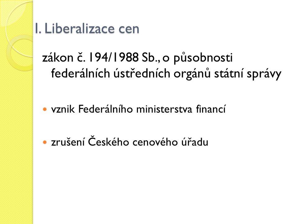 I. Liberalizace cen zákon č. 194/1988 Sb., o působnosti federálních ústředních orgánů státní správy.