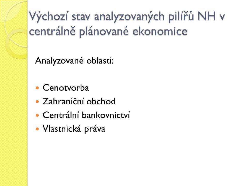 Výchozí stav analyzovaných pilířů NH v centrálně plánované ekonomice