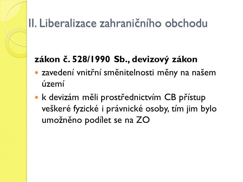 II. Liberalizace zahraničního obchodu