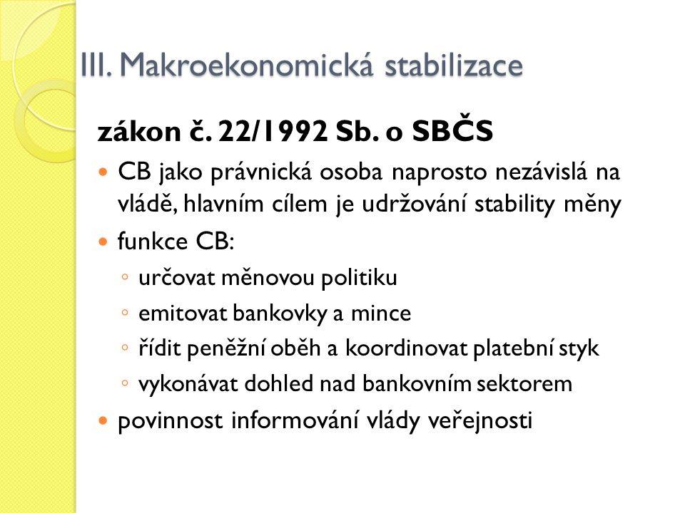 III. Makroekonomická stabilizace