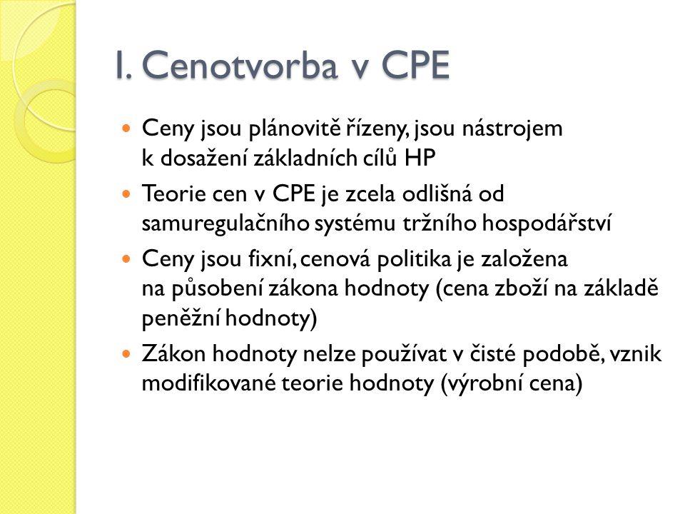 I. Cenotvorba v CPE Ceny jsou plánovitě řízeny, jsou nástrojem k dosažení základních cílů HP.