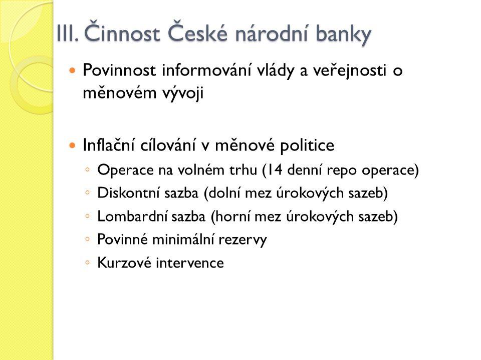 III. Činnost České národní banky