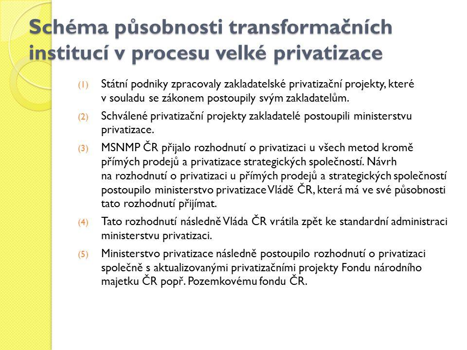 Schéma působnosti transformačních institucí v procesu velké privatizace