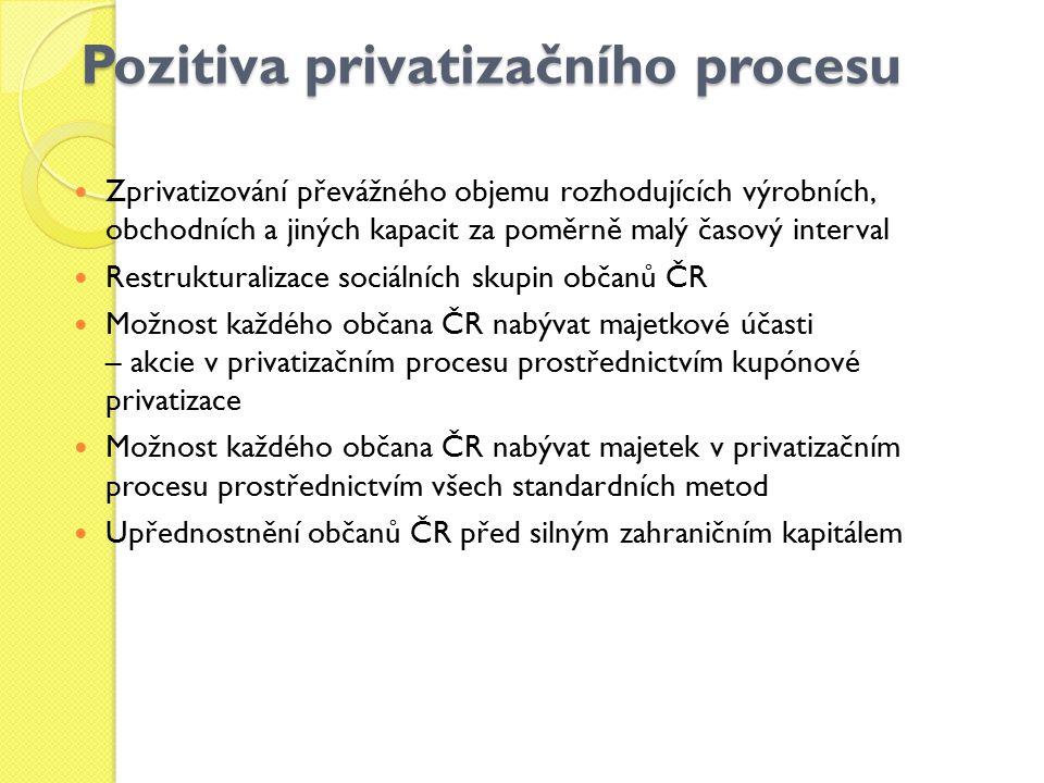Pozitiva privatizačního procesu