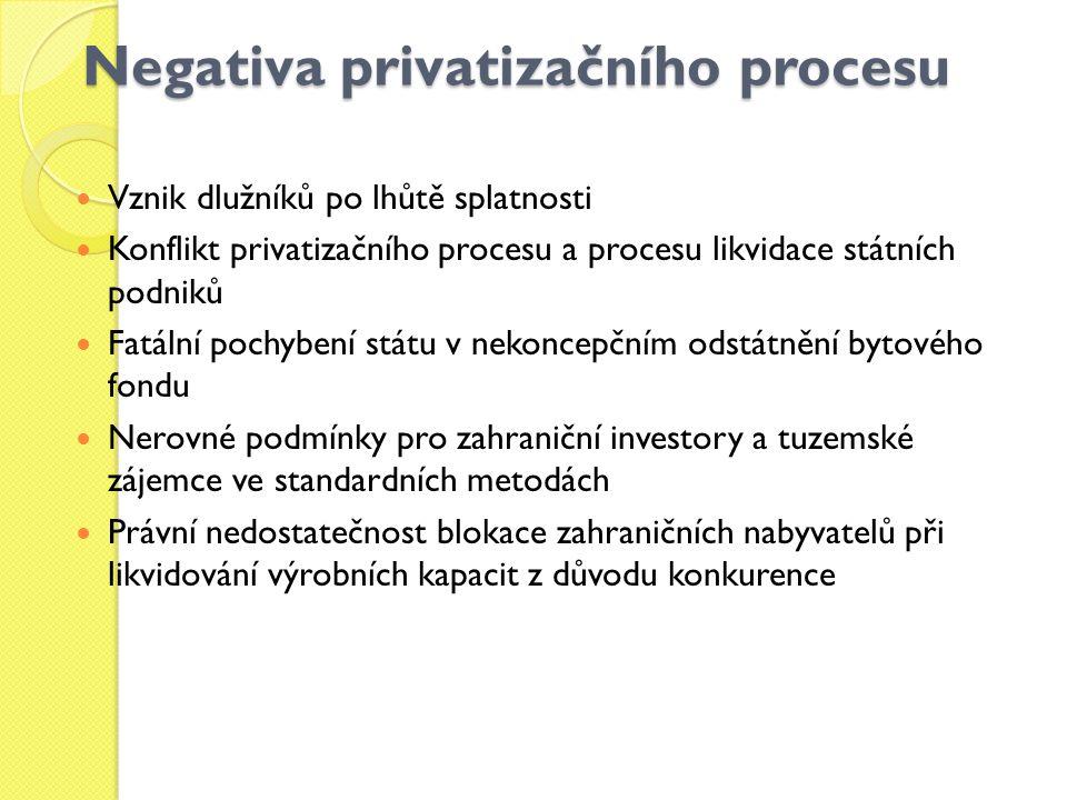 Negativa privatizačního procesu