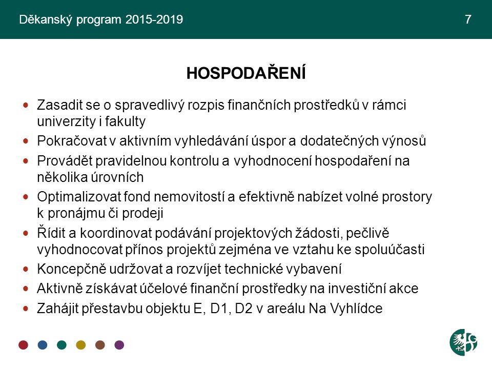 Děkanský program 2015-2019 7 HOSPODAŘENÍ. Zasadit se o spravedlivý rozpis finančních prostředků v rámci univerzity i fakulty.