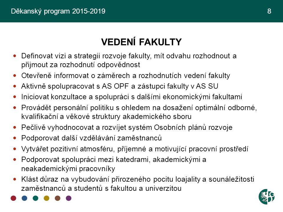 Děkanský program 2015-2019 8 VEDENÍ FAKULTY.