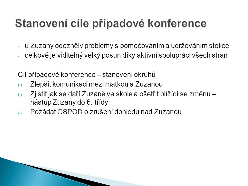 Stanovení cíle případové konference