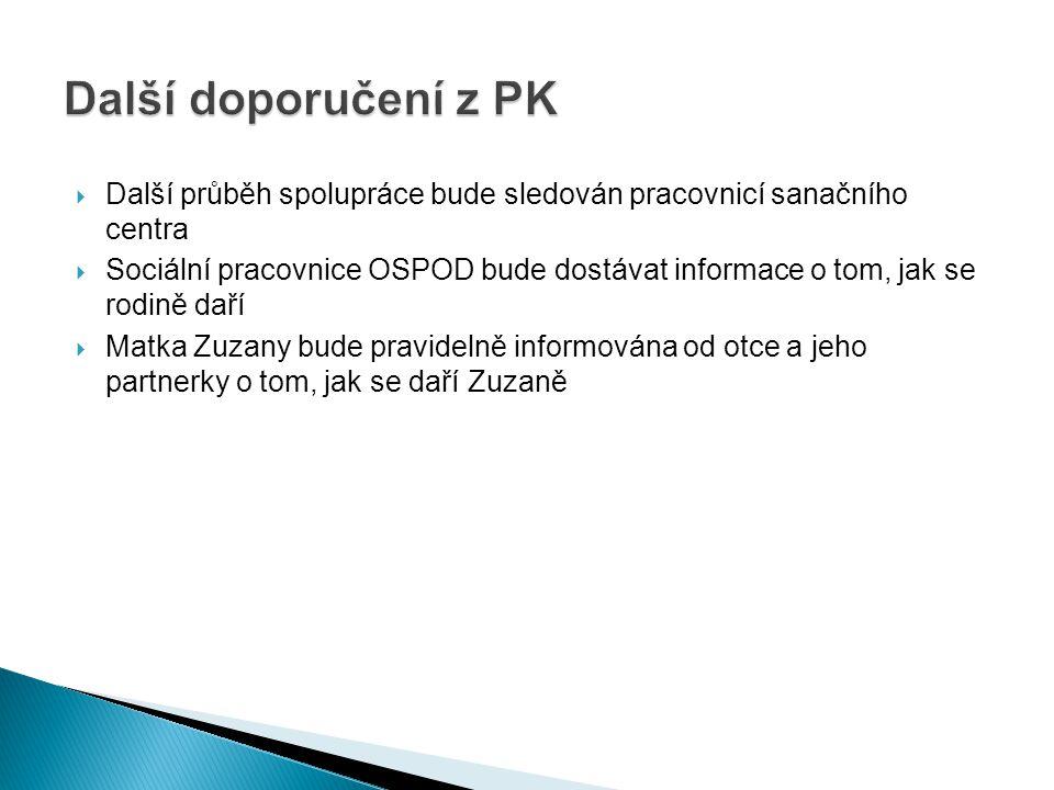 Další doporučení z PK Další průběh spolupráce bude sledován pracovnicí sanačního centra.