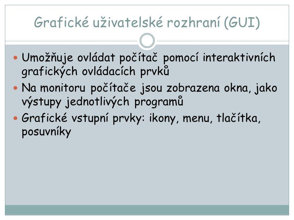 Grafické uživatelské rozhraní (GUI)