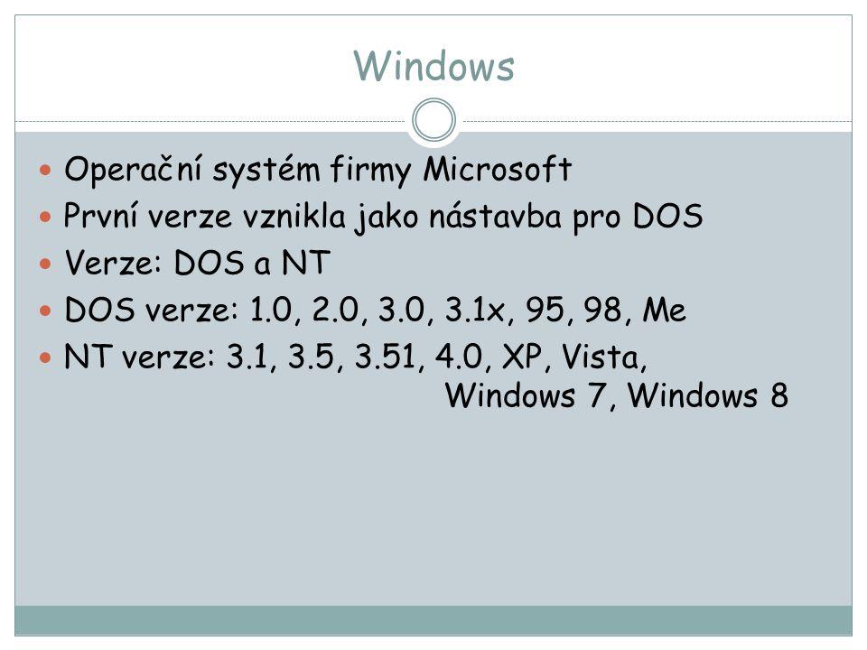 Windows Operační systém firmy Microsoft