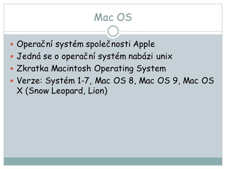 Mac OS Operační systém společnosti Apple
