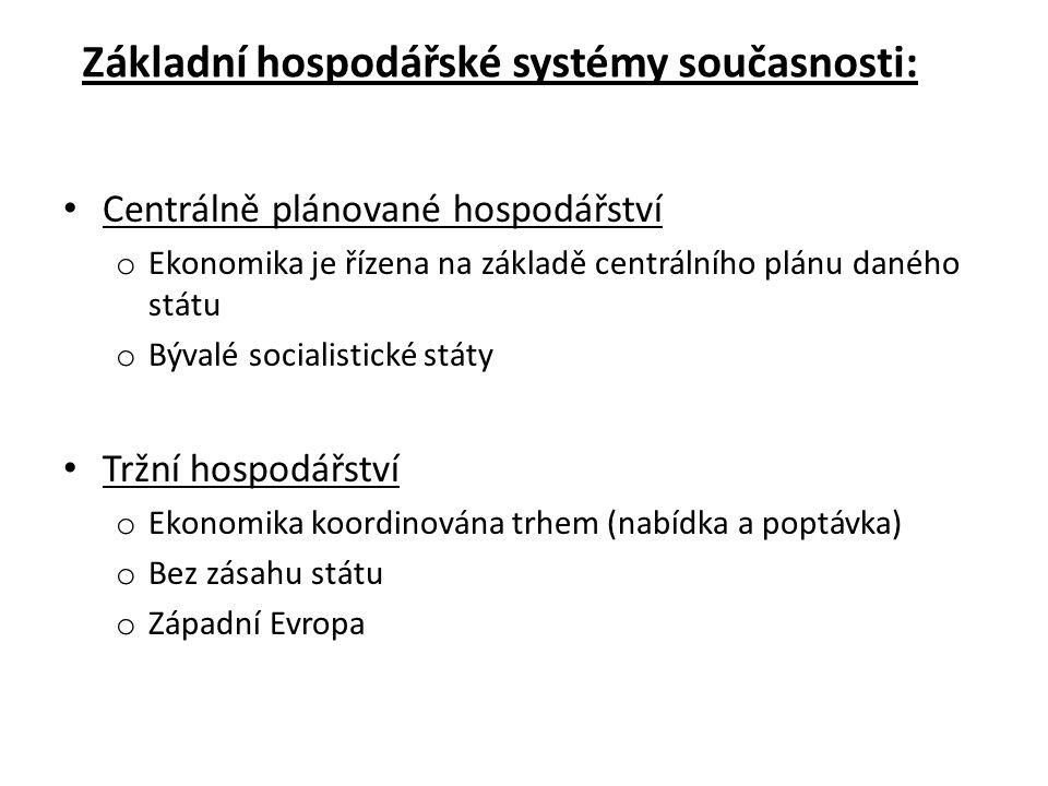 Základní hospodářské systémy současnosti: