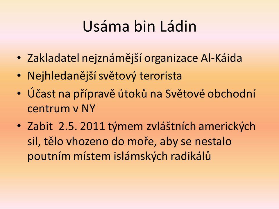 Usáma bin Ládin Zakladatel nejznámější organizace Al-Káida