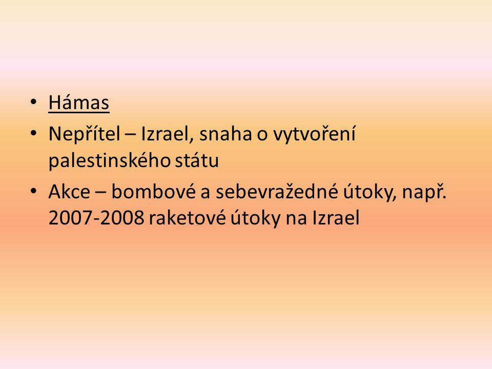Hámas Nepřítel – Izrael, snaha o vytvoření palestinského státu.