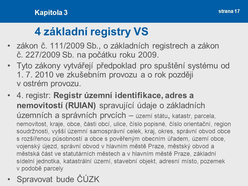 Kapitola 3 4 základní registry VS. zákon č. 111/2009 Sb., o základních registrech a zákon č. 227/2009 Sb. na počátku roku 2009.