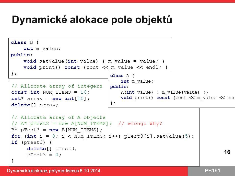 Dynamické alokace pole objektů