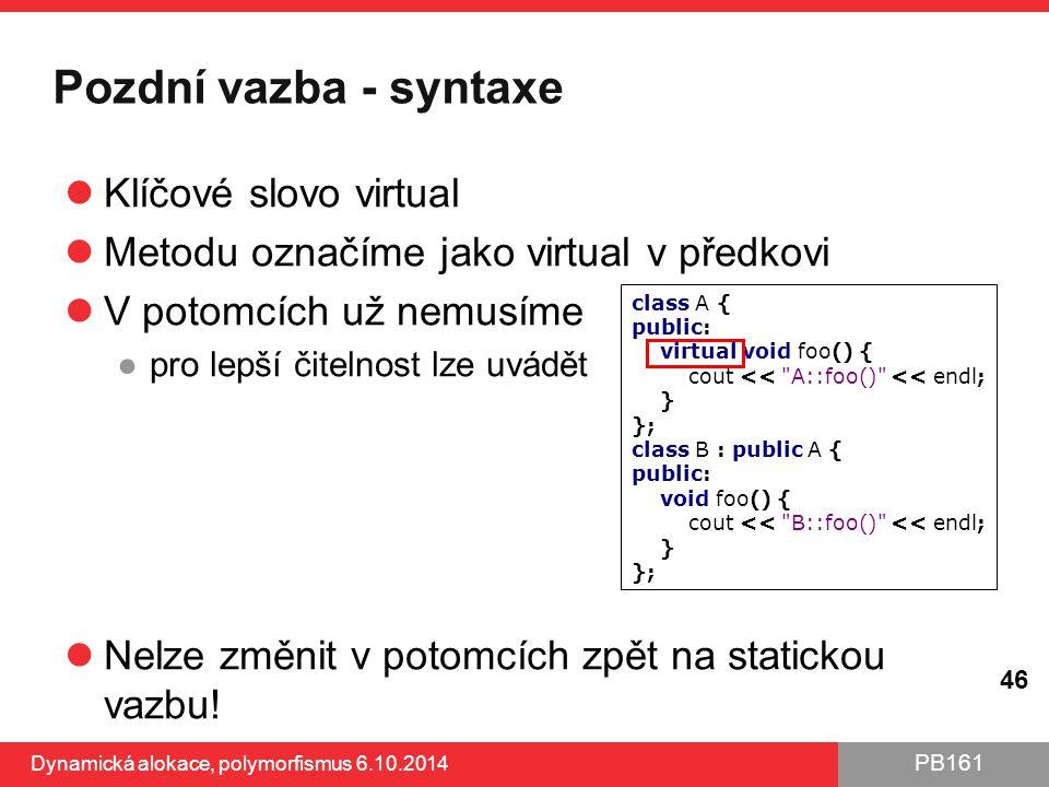 Pozdní vazba - syntaxe Klíčové slovo virtual