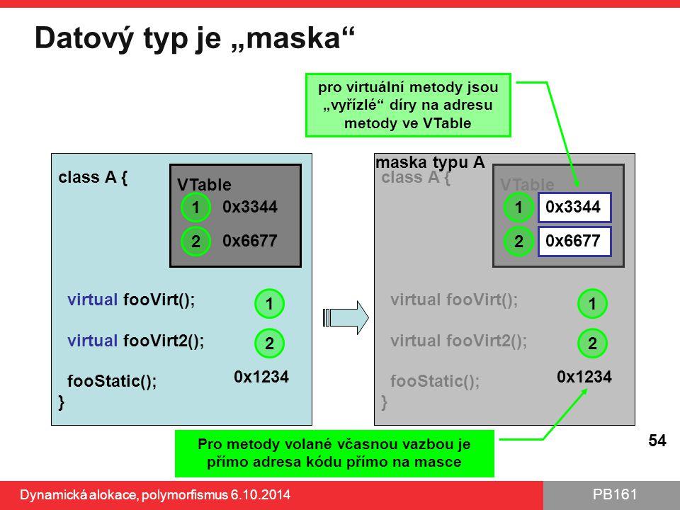 "Datový typ je ""maska maska typu A class A { virtual fooVirt();"