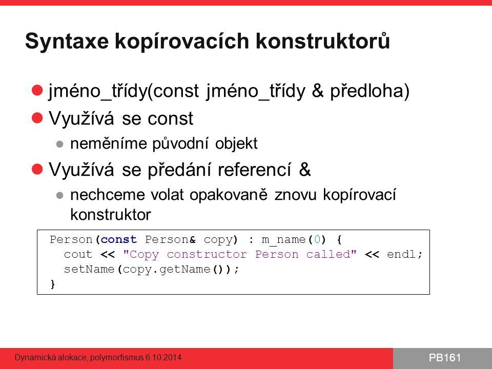 Syntaxe kopírovacích konstruktorů