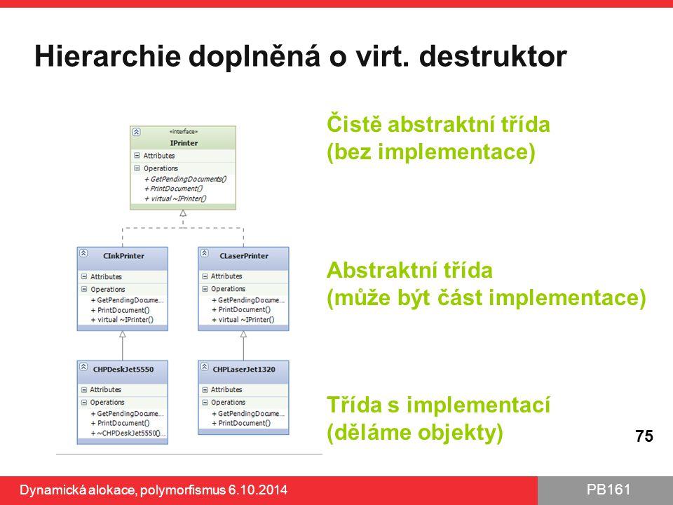 Hierarchie doplněná o virt. destruktor