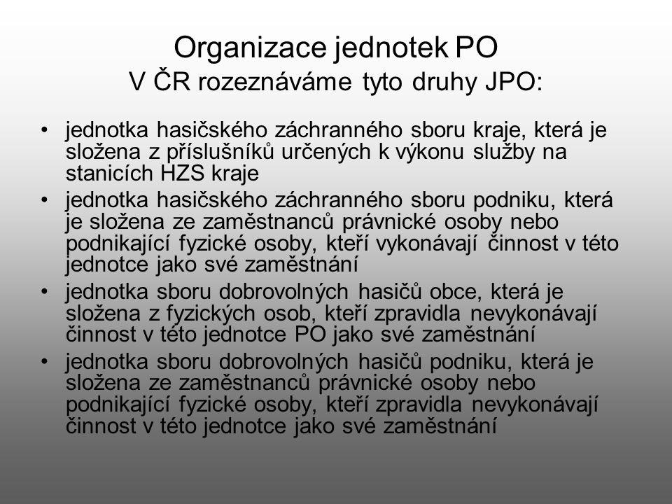 Organizace jednotek PO V ČR rozeznáváme tyto druhy JPO:
