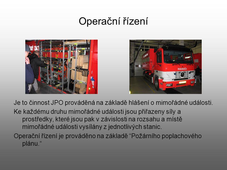 Operační řízení Je to činnost JPO prováděná na základě hlášení o mimořádné události.
