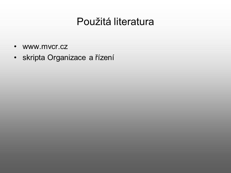 Použitá literatura www.mvcr.cz skripta Organizace a řízení