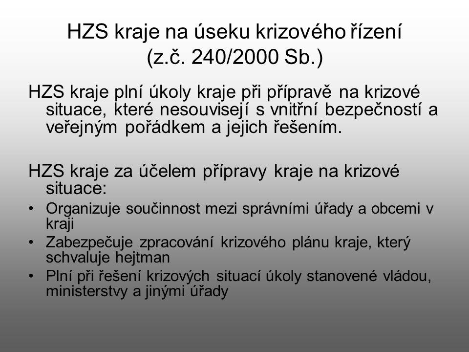 HZS kraje na úseku krizového řízení (z.č. 240/2000 Sb.)