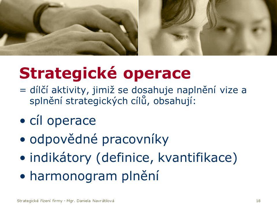 Strategické operace cíl operace odpovědné pracovníky