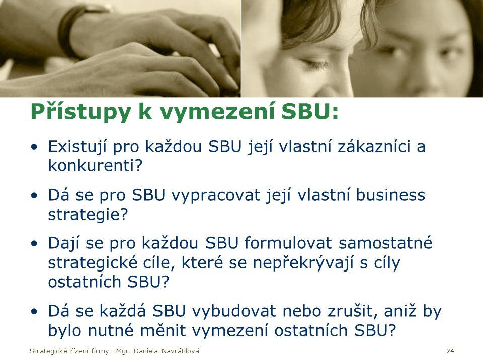 Přístupy k vymezení SBU: